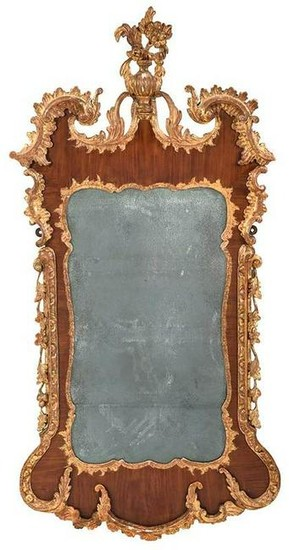 Chippendale Carved Parcel Gilt Mahogany Mirror