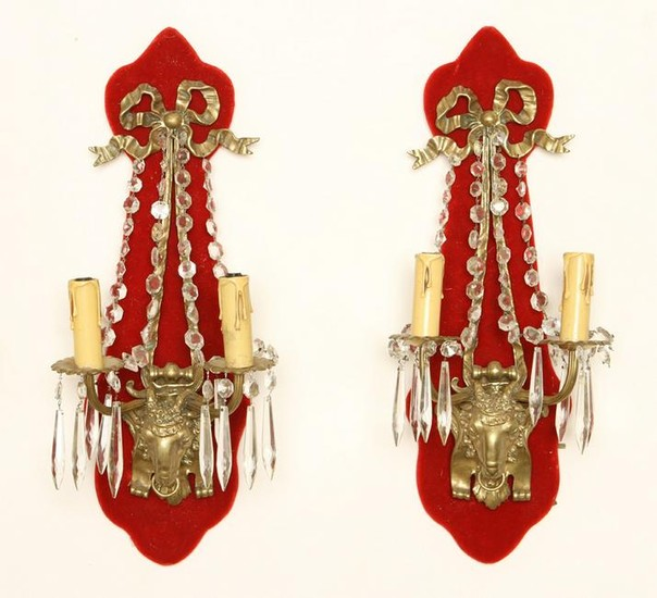 PAIR FRENCH BRONZE CRYSTAL WALL SCONCES C.1940
