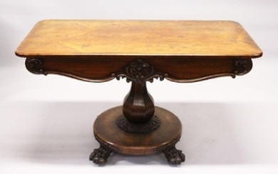 A VICTORIAN ROSEWOOD CENTRE TABLE,with rounded