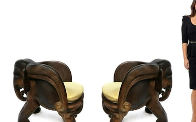 19th C. Large Pair of Carved Elephant Form Chairs