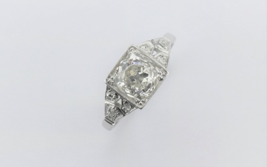 A ladies single stone diamond ring, set with diamond chipped...