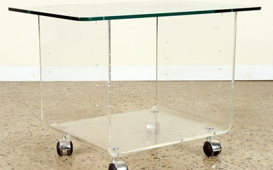MID CENTURY MODERN LUCITE GLASS DRINKS CART C1960