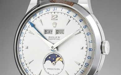 Rolex, Ref. 8171 A large, attractive and exceptionally well-preserved stainless steel triple calendar wristwatch with moonphases and two-tone dial