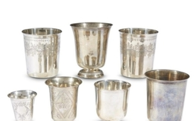 Seven Continental and Russian silver beakers Various makers, 18th...