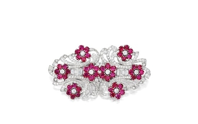 Ruby and Diamond Double-Clip Brooch