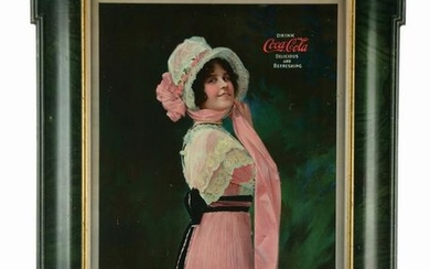 "1914 SELF-FRAMED COCA-COLA ""BETTY"" TIN-LITHO"