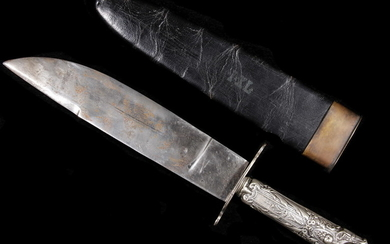 CASED BOWIE KNIFE BY GEORGE WOSTENHOLM OF SHEFFIELD (WITH SILVER HANDLE)