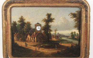 19TH C. O/C PAINTING WITH CLOCK AND MUSIC MECHANISM