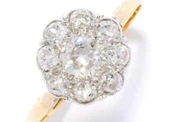 DIAMOND CLUSTER DRESS RING in high carat yellow gold,