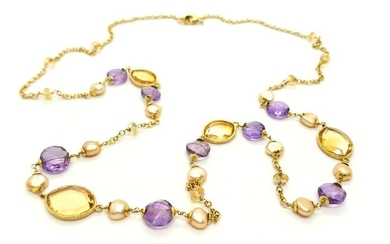 18 kts. Yellow gold - Necklace Citrine - Amethyst