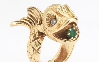 Ladies' Antique Style Gold, Diamond and Emerald Dolphin Ring