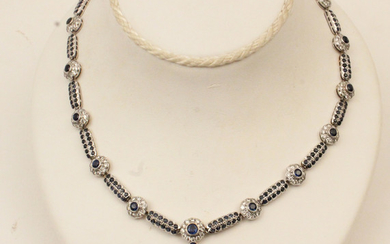 18K W. GOLD DIAMOND AND SAPPHIRE NECKLACE