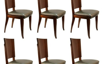 Art Deco Exotic Wood Dining Chairs, Set of Six
