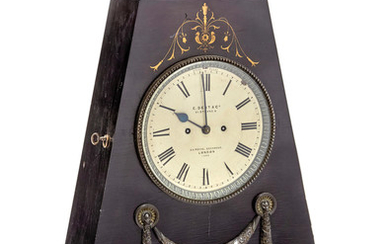 A brass inlaid ebonized and bronze mounted large table clock