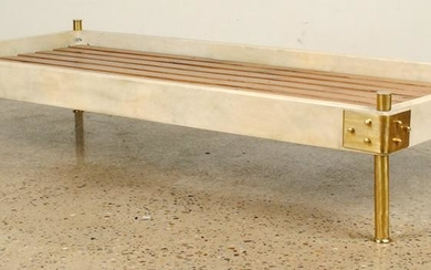 BRASS PARCHMENT COVERED DAY BED MANNER OF