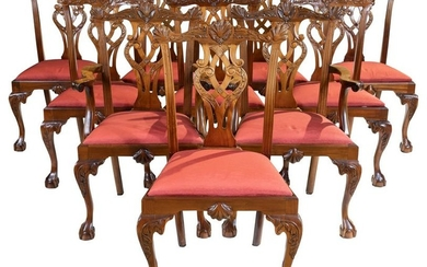 Chippendale Style Mahogany Dining Chairs - 10