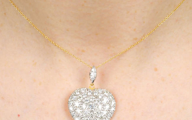A pave-set diamond heart pendant, with chain. Estimated