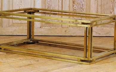 TWO TIER BRASS GLASS COFFEE TABLE C.1970