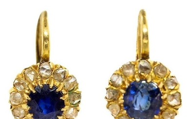 Victorian 18 Karat Gold Sapphires and Diamonds Earrings
