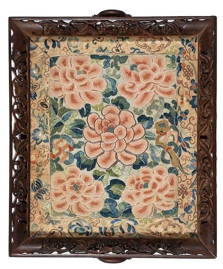 Fine Embroidered Silk and Carved Wood Tray