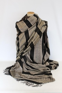 Large 19th Century woven silk shawl, black striped with whit...