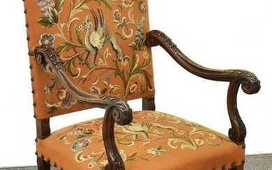FRENCH LOUIS XIV STYLE WALNUT HIGH BACK FAUTEUIL