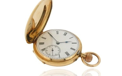 A gentleman's gold pocket watch, the plain white...