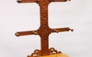 A VICTORIAN OAK HALL STAND, with carved back, single
