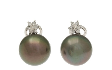 A pair of Tahiti pearl and diamond ear pendants each set with a Tahiti pearl and seven brilliant-cut diamonds, mounted in 18k white gold. L. 2 cm. (2)
