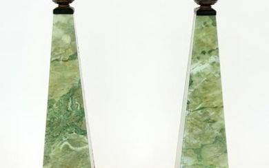 PR FRENCH REVERSE PAINTED GLASS TABLE LAMPS C1950