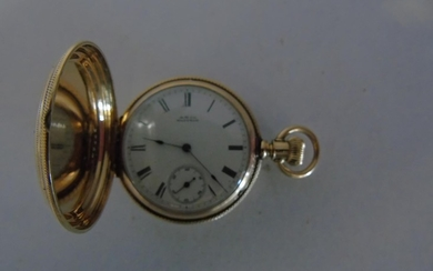 A quality engraved 14ct gold A.W. Co Waltham pocket watch in...