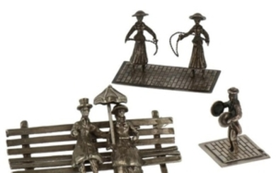(3) Lot miniatures with a jump rope, couple on a park bench silver.