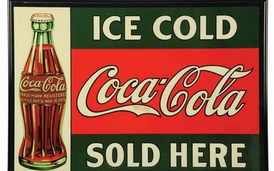 1927 COCA-COLA EMBOSSED TIN SIGN.