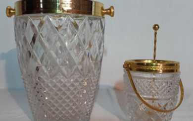 2 HAND CUT CRYSTAL GOLD METAL TRIMMED BOWLS