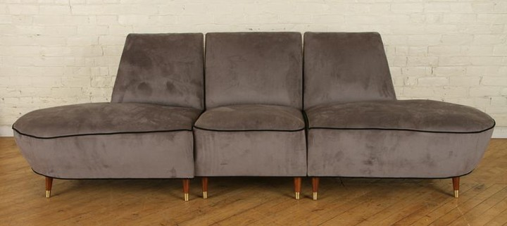 3 PIECE UPHOLSTERED ITALIAN CURVED SOFA C.1960