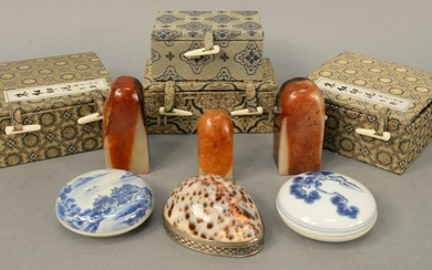 Six piece group to include, five Chinese carved