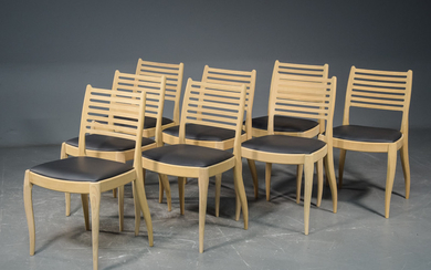 Dining room chairs, model Arki with leather upholstery (8)