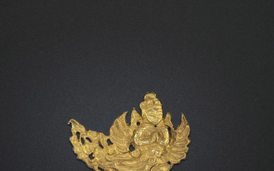 A RARE GOLD 'KALAVINKA' HAIRPIN ORNAMENT, LIAO DYNASTY (AD 907-1125)