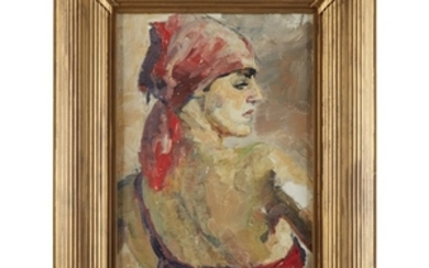 UNKNOWN ARTIST (20th century) LADY IN RED BANDANA Oil...