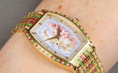 An 18ct gold diamond, ruby and emerald watch, with floral dial, by William & Son.