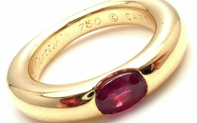 Cartier 18k Yellow Gold Ruby Ellipse Band Ring Size 48