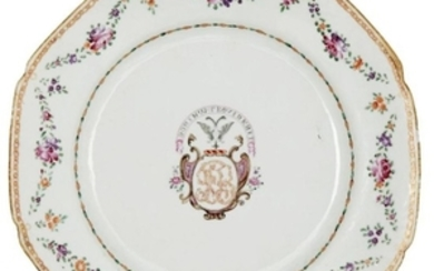 A Chinese export porcelain armorial octagonal plate,...