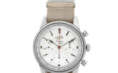 Enicar. A stainless steel manual wind chronograph wristwatch