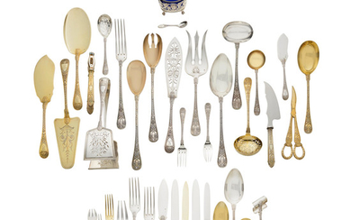 A French Silver and Silver Gilt Flatware Service