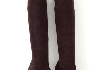 Manolo Blahnik Boot Stretch Suede Chocolate Knee High