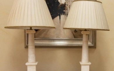 Marble Column Lamps - Pair