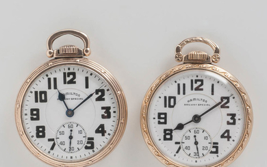 "Two Hamilton Watch Co. ""992B"" Open-face Watches"