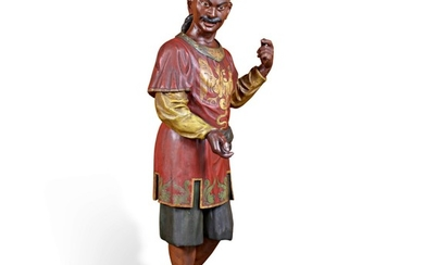 VERY FINE AND RARE CARVED AND POLYCHROME PAINT-DECORATED PINE TEA SHOP TRADE FIGURE, PROBABLY NEW YORK, CIRCA 1880