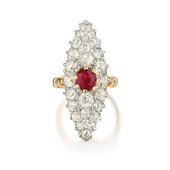 Antique - Antique Edward Farrell Ruby and Diamond Ring