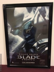 Lot Art Blade Trinity Movie Poster Autographed By Wesley Snipes